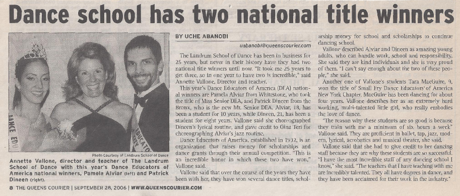 Queens Courier - Landrum School of Dance Has Two National Winners - September 28, 2006
