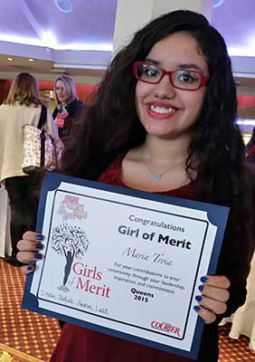 Landrum student Daniella Colon accepting Girl of Merit Award for Maria Troia 2015