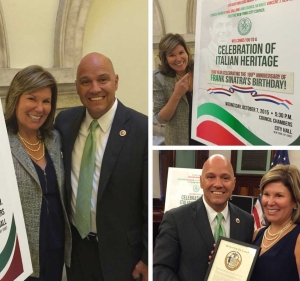 Annette and Councilman Paul Vallone at the Celebration of Italian Heritage at New York City Hall 2015